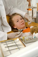 Portrait of a girl undergoing dental treatment
