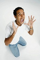 Man screams in studio