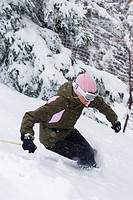 Woman snow skiing