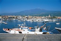 Italy - Sicily Region - Messina - Port with Volcano Etna in the background