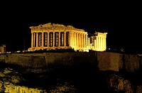 Athens Acropolis, Parthenon temple by night