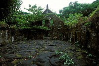 Samoa, Salealua lava fields, a village destroyed by the lava