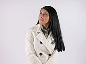 Woman wearing white coat (thumbnail)