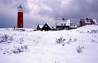 Texel, wintertime, the lighthouse of De Cocksdorp