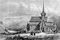The 12th century church at Lom (seen in 1850´s) (from ´ Le Tour du Monde´  published Paris, 1860´s). Norway.
