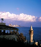 Israel, glimpse of Tel Aviv from Jaffa, minaret in the foreground