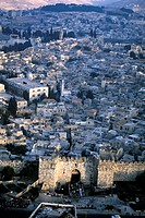 Israel, Jerusalem, aerial view of the old town