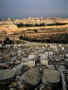 Israel, Jerusalem, overview from Mount of Olives and jewish cemetery in the foreground