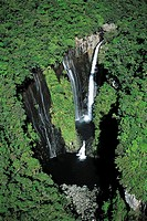 Reunion, waterfall, aerial view