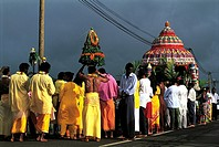 Reunion, procession during a Tamil religious ceremony