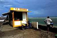 Reunion, Saint-Pierre, cafe stall by the beach