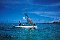 Mauritius, Rodrigues, fishermen in a sailing outrigger