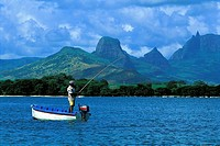 Mauritius, fisher on the lagoon