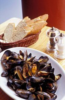 Scotland, Glasgow. A plate of mussels in Mussel Inn restaurant, which specializes in mussels scallops and oysters