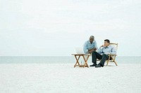 Two men on the beach, looking at laptop computer together, full length