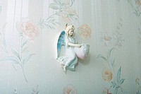 Angel knickknack hanging on wall