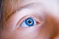 Childs eye closeup blue