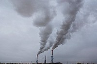 Spain, Madrid, pollution outside smoke stacks