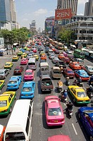 Late Morning Traffic on Th Rachadamri, Bangkok. Thailand