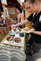 Girl Serving Food for Herself, Gastronomy Festival, Budapest, Hungary, Europe