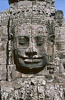 Lokeshvara faces, temples Bayon, Khmer epoch, ruin-complex Angkor