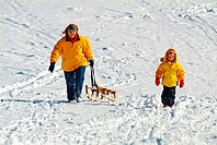 Mother, and, child, with, sledge, Swabia, Allgau, Bavaria, Germany, sledging, Allgäu,