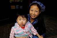 Woman, and, child, Wuzhen, province, Zhejiang, China,