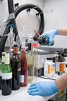 Physics and chemistry laboratory. Tests for polluting agents in wine. AZTI-Tecnalia. Technological Centre specialised in Marine and Food Research. Suk...