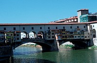 River, Arno, bridge, Ponte, Vecchio, with, shops, Florence, Tuscany, Italy