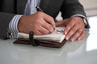 Businessman, hands, pen, table, calendars, write, detail,