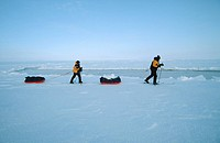 Skiers Pulling Sledges on an Icy Landscape  North Pole, Arctic Ocean