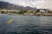 View of a Canoeist Rowing Back to Shore  Cape Town, Western Cape Province, South Africa