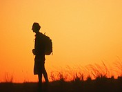 A Side Profile of a Man Silhouetted at Sunset  Northern Cape Province, South Africa