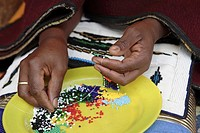 Close-up of Woman´s Hans Making Beaded Jewellery  Pilgrim´s Rest, Mpumalanga Province, South Africa