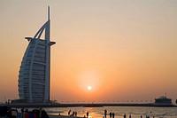 Burj al Arab at sunset  Dubai, United Arab Emirates
