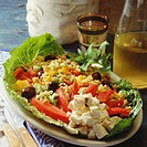 Bulgur wheat salad with vegetables, sheep´s cheese & mint
