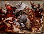 Ü Kunst - Rubens, Peter Paul 1577 - 1640, Gemälde Tiger- und Leopardenjagd, um 1616, Öl auf Leinwand, Deutsche Jagdmuseum München, Barock, Jagd, Männe...