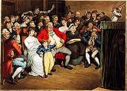 Puppentheater, Grafik, Grafiken, Theater, Puppe, Puppen, Puppenspiel, Malerei, Kunst, Kasperltheater, von Georg Emanuel Opitz 1777 - 1841, Handpuppen,...