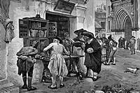 Bibliophiles in Seville in 19th century. From La Ilustración Española y Americana 1881