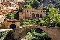 Medieval bridge, Santo Cristo and  Santa Maria de la Hoz chapel, Tobera. Burgos province, Castilla-León, Spain