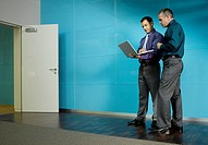 Two businessmen with a laptop in blue office