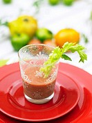 Gazpacho in glass with celery
