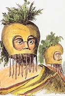 c 1840, Hand colored lith, Hawaii, man in gourd mask
