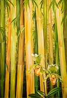 Bamboo Balance, Yellow bamboo forest, Orchid in foreground Oil painting