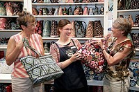Das Dutchman Essenhaus, Village Shop, Vera Bradley quilted purses, women shopping. Middlebury. Indiana. USA.