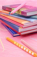 Notebooks and crayons