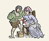 Bloodletting, coloured historical artwork  This woodcut is from the medical poem Regimen Sanitatis Salernitanum the Salernitan Rule of Health, which i...