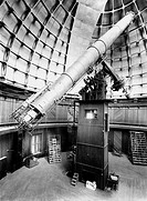 Telescope at the Lick Observatory, Mount Hamilton in California, USA  This 36 inch refractor telescope also known as the Great Lick Refractor was buil...