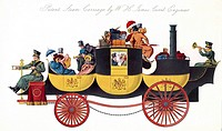 Steam-powered coach, historical artwork  This patent for a steam carriage shows a horseless stage coach with a boiler at the back for producing high p...