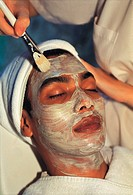 Thailand, Hua Hin, Chiva-Som Health Resort & Spa, Man having a face mask treatment,